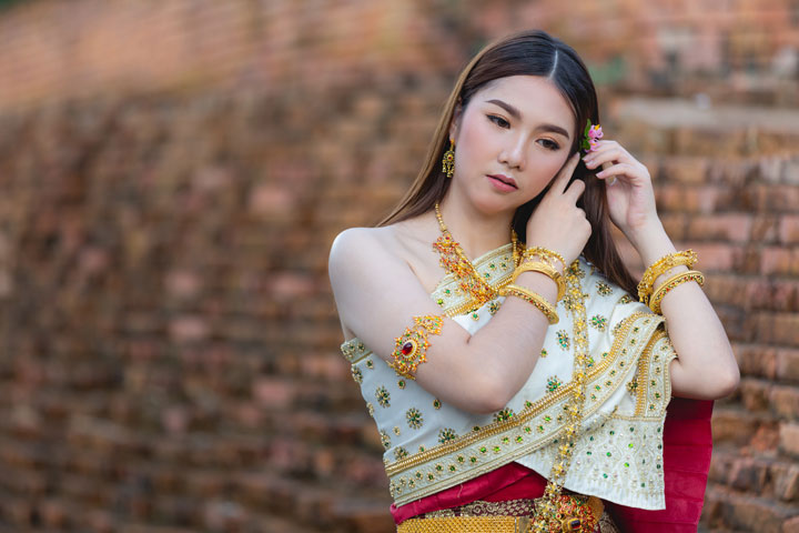 beautiful woman asian thai traditional outfit