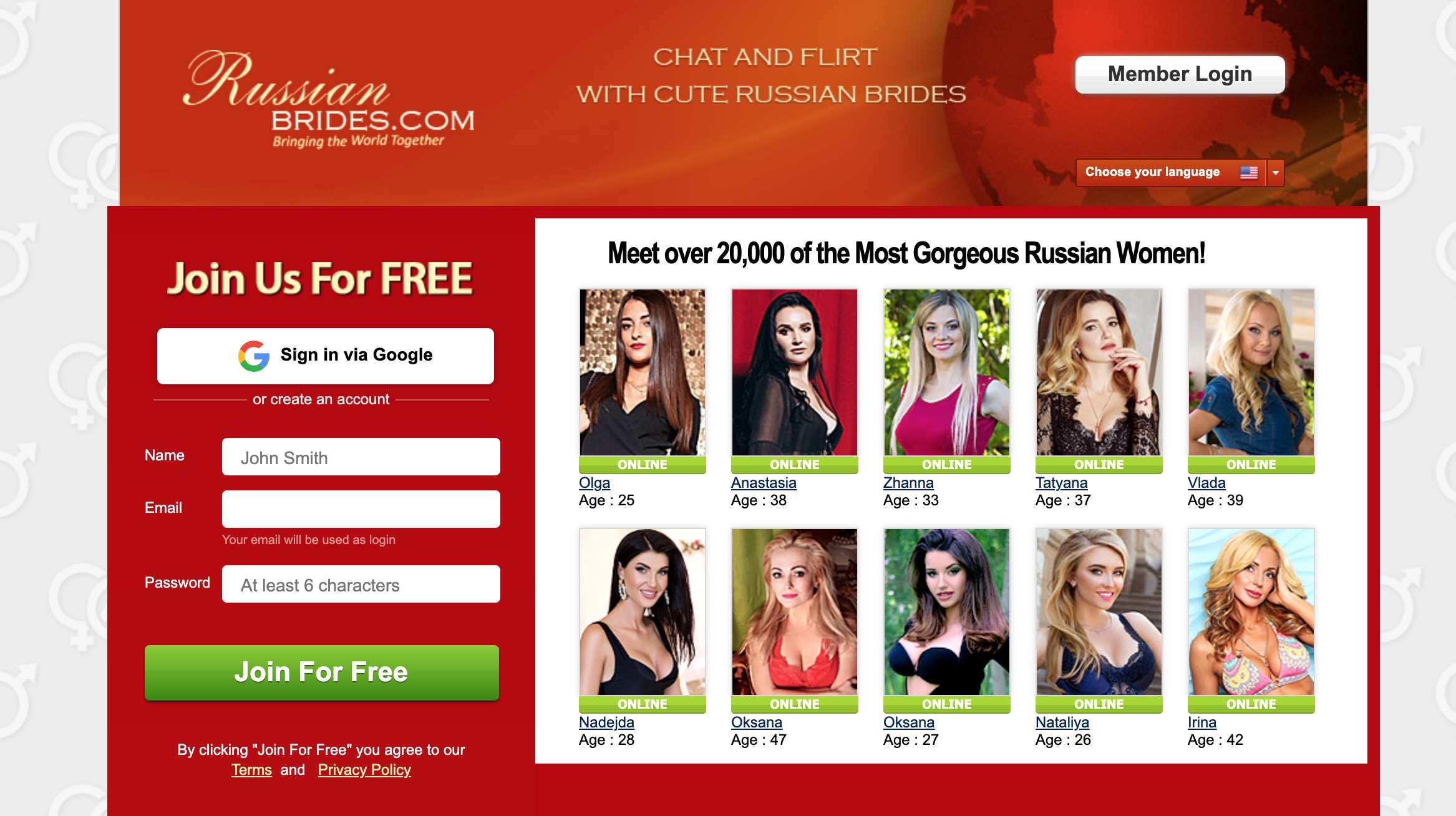 RussianBrides main page