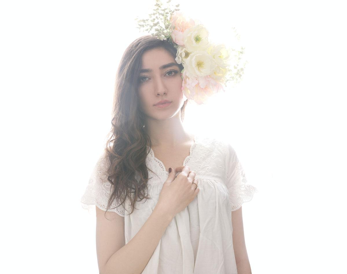 brunette Spanish Bride with flower in hair