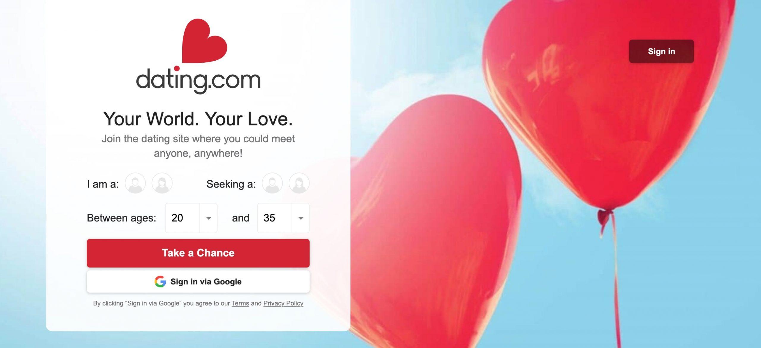 Dating.Com main page